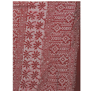 Red & White Batik Hand Block Print Handcrafted Cotton Saree-Saree-Kalakari India-RDSNSA0036-Batik, Cotton, Geographical Indication, Hand Blocks, Hand Crafted, Heritage Prints, Sarees, Sustainable Fabrics-[Linen,Ethnic,wear,Fashionista,Handloom,Handicraft,Indigo,blockprint,block,print,Cotton,Chanderi,Blue, latest,classy,party,bollywood,trendy,summer,style,traditional,formal,elegant,unique,style,hand,block,print, dabu,booti,gift,present,glamorous,affordable,collectible,Sari,Saree,printed, holi, Di