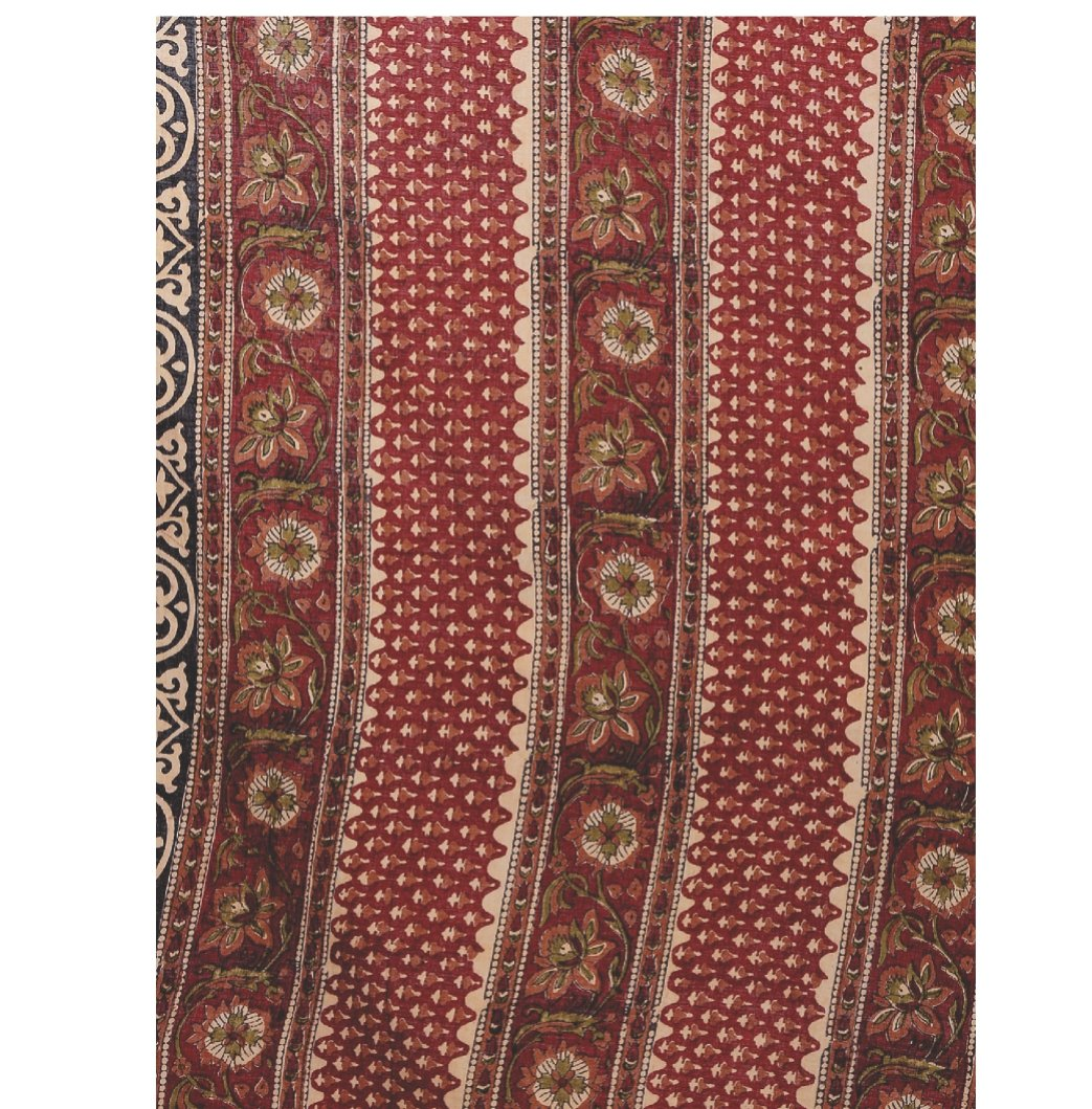 Red & Beige Kalamkari Hand Block Print Handcrafted Cotton Saree-Saree-Kalakari India-RDSNSA0041-Cotton, Geographical Indication, Hand Blocks, Hand Crafted, Heritage Prints, Kalamkari Block, Sarees, Sustainable Fabrics-[Linen,Ethnic,wear,Fashionista,Handloom,Handicraft,Indigo,blockprint,block,print,Cotton,Chanderi,Blue, latest,classy,party,bollywood,trendy,summer,style,traditional,formal,elegant,unique,style,hand,block,print, dabu,booti,gift,present,glamorous,affordable,collectible,Sari,Saree,pri