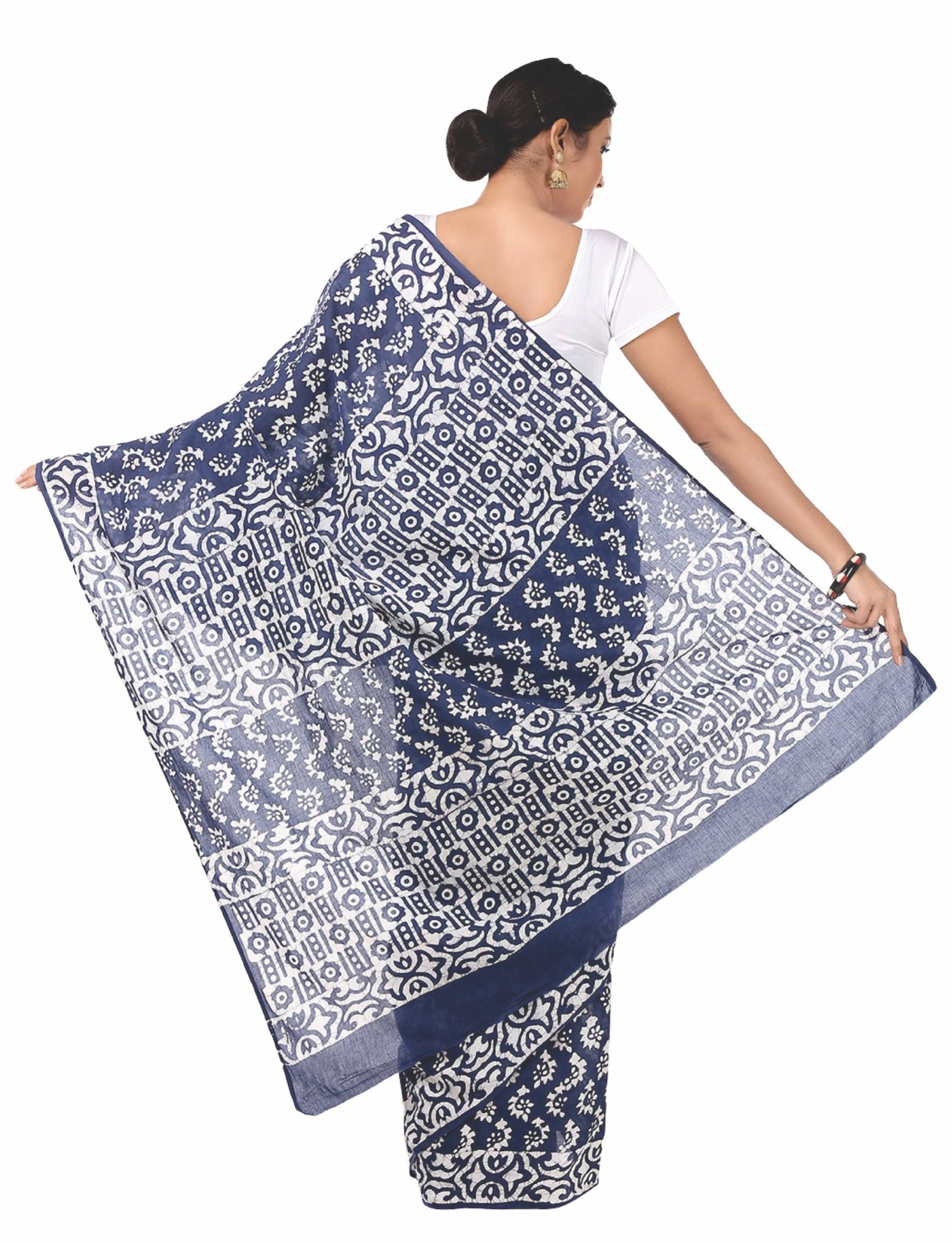 Blue & White Kalamkari Hand Block Print Handcrafted Cotton Saree-Saree-Kalakari India-RDSNSA0042-Batik, Cotton, Geographical Indication, Hand Blocks, Hand Crafted, Heritage Prints, kalamkari block, Sarees, Sustainable Fabrics-[Linen,Ethnic,wear,Fashionista,Handloom,Handicraft,Indigo,blockprint,block,print,Cotton,Chanderi,Blue, latest,classy,party,bollywood,trendy,summer,style,traditional,formal,elegant,unique,style,hand,block,print, dabu,booti,gift,present,glamorous,affordable,collectible,Sari,S