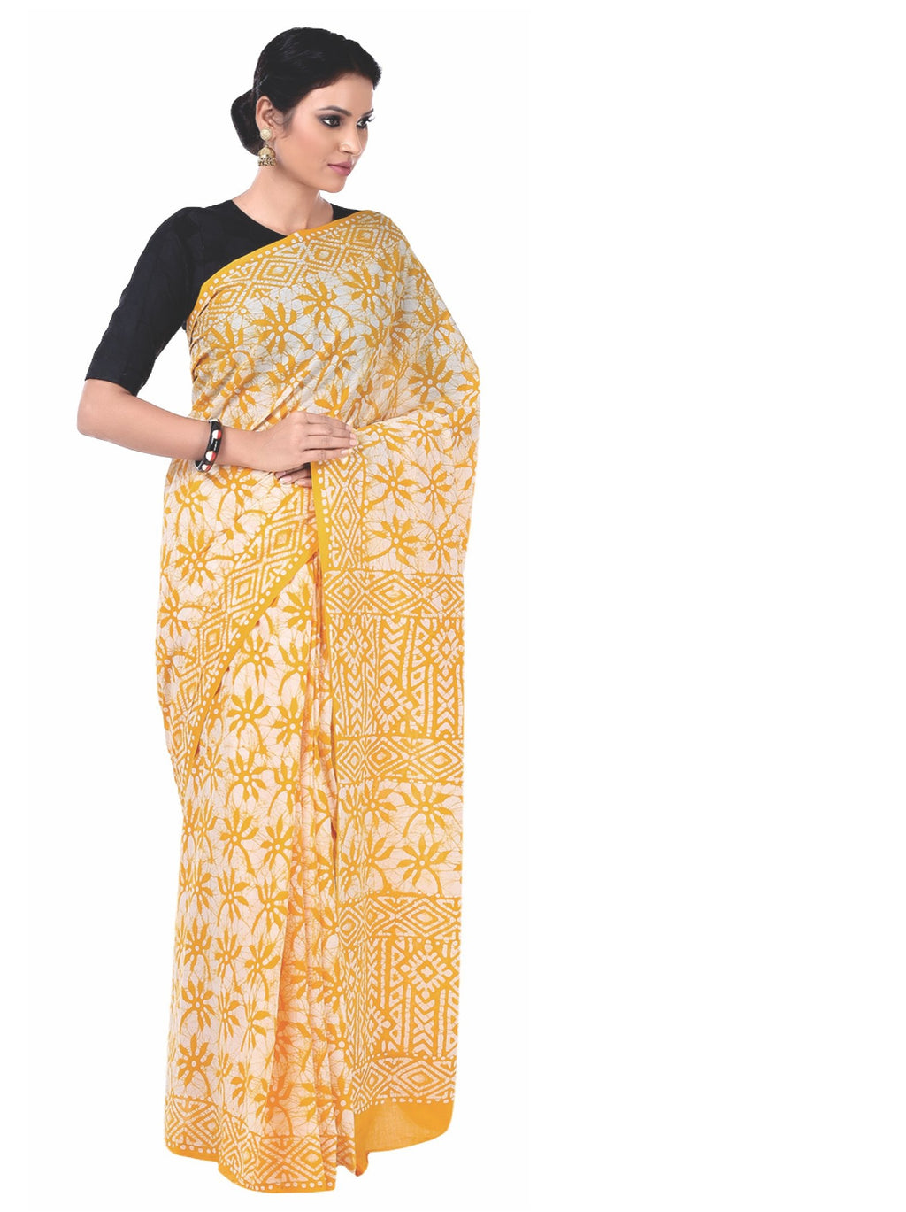 Yellow Batik Hand Block Print Handcrafted Cotton Saree-Saree-Kalakari India-RDSNSA0044-Batik, Cotton, Geographical Indication, Hand Blocks, Hand Crafted, Heritage Prints, Sarees, Sustainable Fabrics-[Linen,Ethnic,wear,Fashionista,Handloom,Handicraft,Indigo,blockprint,block,print,Cotton,Chanderi,Blue, latest,classy,party,bollywood,trendy,summer,style,traditional,formal,elegant,unique,style,hand,block,print, dabu,booti,gift,present,glamorous,affordable,collectible,Sari,Saree,printed, holi, Diwali,