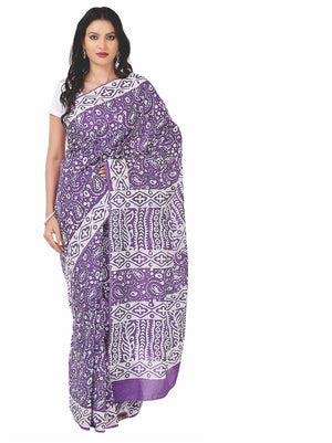 Purple Batik Hand Block Print Handcrafted Cotton Saree-Saree-Kalakari India-RDSNSA0045-Batik, Cotton, Geographical Indication, Hand Blocks, Hand Crafted, Heritage Prints, Sarees, Sustainable Fabrics-[Linen,Ethnic,wear,Fashionista,Handloom,Handicraft,Indigo,blockprint,block,print,Cotton,Chanderi,Blue, latest,classy,party,bollywood,trendy,summer,style,traditional,formal,elegant,unique,style,hand,block,print, dabu,booti,gift,present,glamorous,affordable,collectible,Sari,Saree,printed, holi, Diwali,