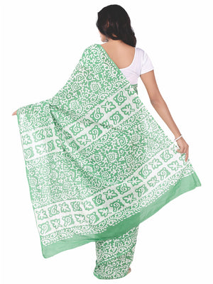 Green & White Batik Hand Block Print Handcrafted Cotton Saree-Saree-Kalakari India-RDSNSA0046-Batik, Cotton, Geographical Indication, Hand Blocks, Hand Crafted, Heritage Prints, Sarees, Sustainable Fabrics-[Linen,Ethnic,wear,Fashionista,Handloom,Handicraft,Indigo,blockprint,block,print,Cotton,Chanderi,Blue, latest,classy,party,bollywood,trendy,summer,style,traditional,formal,elegant,unique,style,hand,block,print, dabu,booti,gift,present,glamorous,affordable,collectible,Sari,Saree,printed, holi,