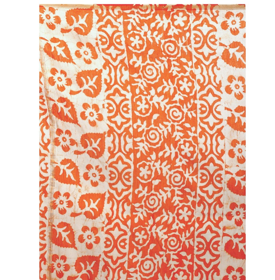 Orange Chanderi Silk Batik Hand Block Print Handcrafted Saree-Saree-Kalakari India-RDSNSA0049-Batik, Chanderi, Geographical Indication, Hand Blocks, Hand Crafted, Heritage Prints, Sarees, Silk, Sustainable Fabrics-[Linen,Ethnic,wear,Fashionista,Handloom,Handicraft,Indigo,blockprint,block,print,Cotton,Chanderi,Blue, latest,classy,party,bollywood,trendy,summer,style,traditional,formal,elegant,unique,style,hand,block,print, dabu,booti,gift,present,glamorous,affordable,collectible,Sari,Saree,printed