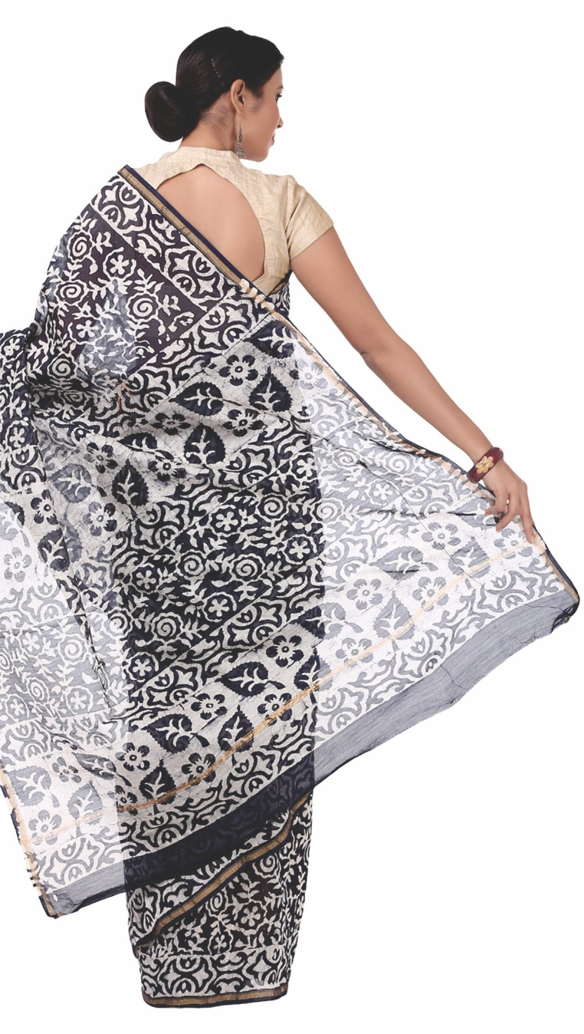 Black Chanderi Silk Batik Hand Block Print Handcrafted Saree-Saree-Kalakari India-RDSNSA0050-Batik, Chanderi, Geographical Indication, Hand Blocks, Hand Crafted, Heritage Prints, Sarees, Silk, Sustainable Fabrics-[Linen,Ethnic,wear,Fashionista,Handloom,Handicraft,Indigo,blockprint,block,print,Cotton,Chanderi,Blue, latest,classy,party,bollywood,trendy,summer,style,traditional,formal,elegant,unique,style,hand,block,print, dabu,booti,gift,present,glamorous,affordable,collectible,Sari,Saree,printed,