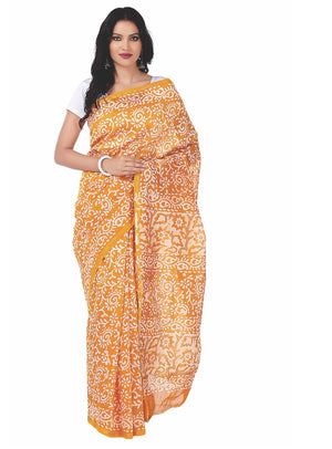Yellow Chanderi Silk Batik Hand Block Print Handcrafted Saree-Saree-Kalakari India-RDSNSA0051-Batik, Chanderi, Geographical Indication, Hand Blocks, Hand Crafted, Heritage Prints, Sarees, Silk, Sustainable Fabrics-[Linen,Ethnic,wear,Fashionista,Handloom,Handicraft,Indigo,blockprint,block,print,Cotton,Chanderi,Blue, latest,classy,party,bollywood,trendy,summer,style,traditional,formal,elegant,unique,style,hand,block,print, dabu,booti,gift,present,glamorous,affordable,collectible,Sari,Saree,printed