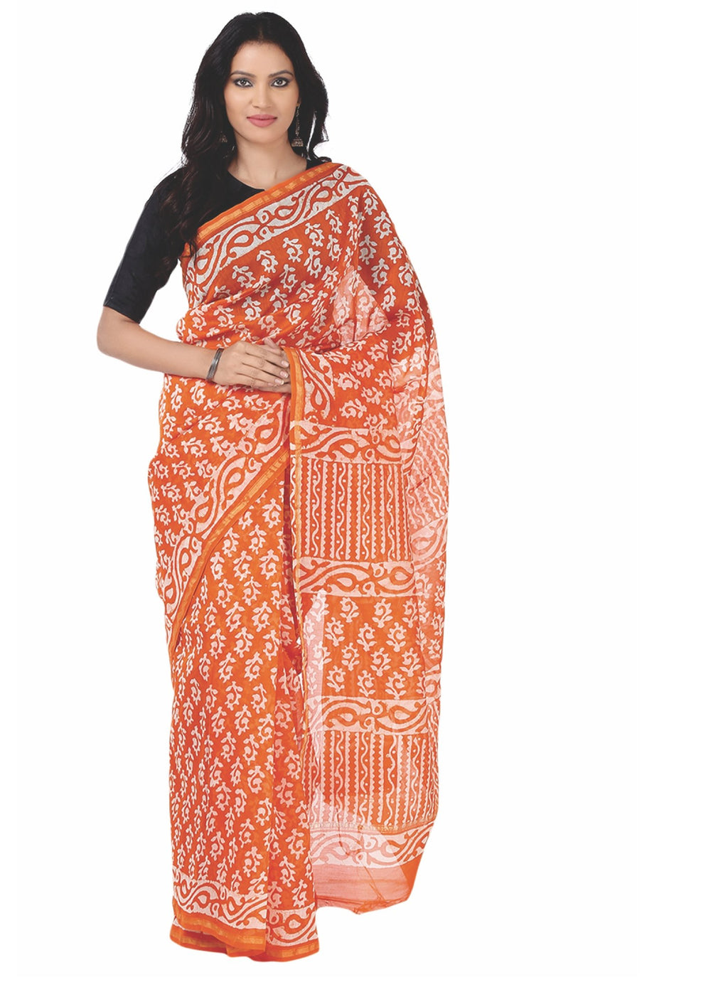 Orange Chanderi Silk Batik Hand Block Print Handcrafted Saree-Saree-Kalakari India-RDSNSA0052-Batik, Chanderi, Geographical Indication, Hand Blocks, Hand Crafted, Heritage Prints, Sarees, Silk, Sustainable Fabrics-[Linen,Ethnic,wear,Fashionista,Handloom,Handicraft,Indigo,blockprint,block,print,Cotton,Chanderi,Blue, latest,classy,party,bollywood,trendy,summer,style,traditional,formal,elegant,unique,style,hand,block,print, dabu,booti,gift,present,glamorous,affordable,collectible,Sari,Saree,printed