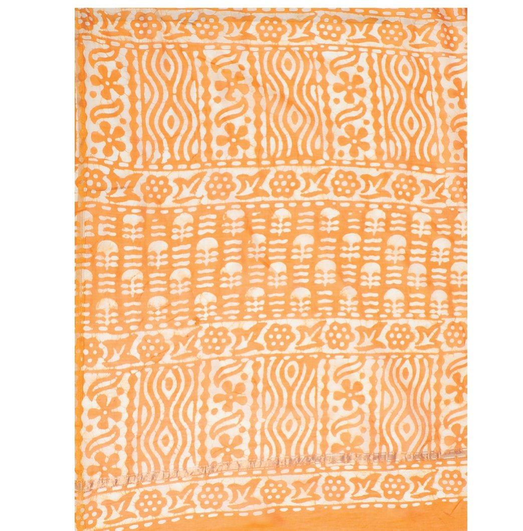 Orange & White Chanderi Silk Dabu Hand Block Print Handcrafted Saree-Saree-Kalakari India-RDSNSA0053-Batik, Chanderi, Geographical Indication, Hand Blocks, Hand Crafted, Heritage Prints, Sarees, Silk, Sustainable Fabrics-[Linen,Ethnic,wear,Fashionista,Handloom,Handicraft,Indigo,blockprint,block,print,Cotton,Chanderi,Blue, latest,classy,party,bollywood,trendy,summer,style,traditional,formal,elegant,unique,style,hand,block,print, dabu,booti,gift,present,glamorous,affordable,collectible,Sari,Saree,
