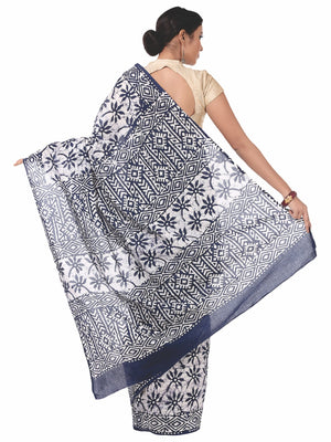 Blue & White Cotton Batik Hand Block Print Handcrafted Saree-Saree-Kalakari India-RDSNSA0054-Batik, Cotton, Geographical Indication, Hand Blocks, Hand Crafted, Heritage Prints, Sarees, Sustainable Fabrics-[Linen,Ethnic,wear,Fashionista,Handloom,Handicraft,Indigo,blockprint,block,print,Cotton,Chanderi,Blue, latest,classy,party,bollywood,trendy,summer,style,traditional,formal,elegant,unique,style,hand,block,print, dabu,booti,gift,present,glamorous,affordable,collectible,Sari,Saree,printed, holi, D