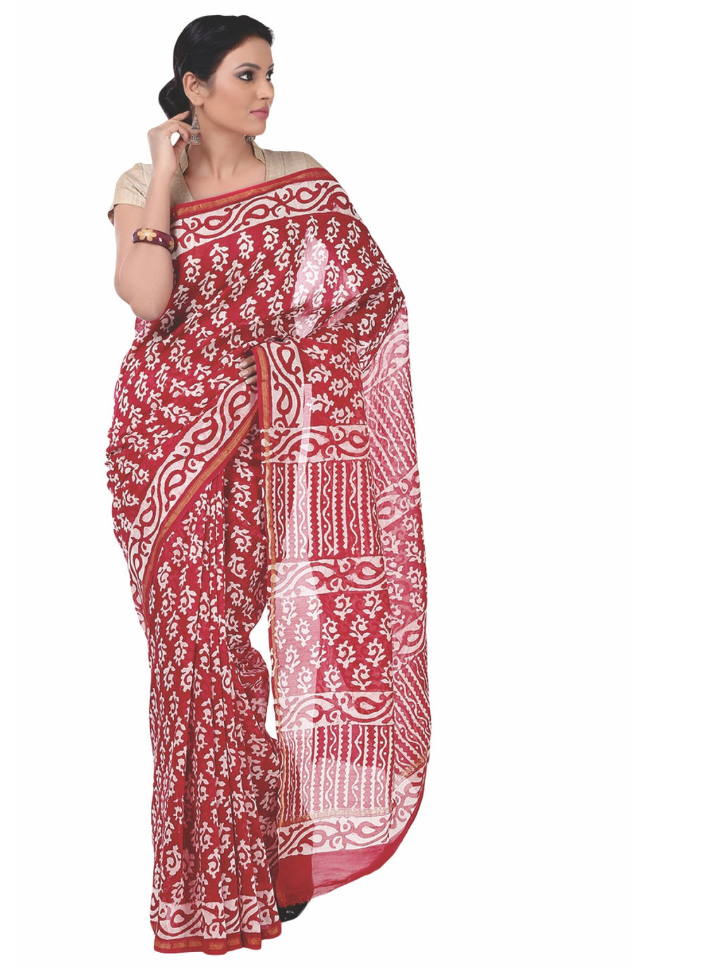 Red Chanderi Silk Batik Hand Block Print Handcrafted Saree-Saree-Kalakari India-RDSNSA0055-Batik, Chanderi, Geographical Indication, Hand Blocks, Hand Crafted, Heritage Prints, Sarees, Silk, Sustainable Fabrics-[Linen,Ethnic,wear,Fashionista,Handloom,Handicraft,Indigo,blockprint,block,print,Cotton,Chanderi,Blue, latest,classy,party,bollywood,trendy,summer,style,traditional,formal,elegant,unique,style,hand,block,print, dabu,booti,gift,present,glamorous,affordable,collectible,Sari,Saree,printed, h