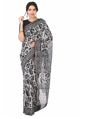 Black & White Chanderi Silk Batik Block Print Handcrafted Saree-Saree-Kalakari India-RDSNSA0057-Batik, Chanderi, Geographical Indication, Hand Blocks, Hand Crafted, Heritage Prints, Sarees, Silk, Sustainable Fabrics-[Linen,Ethnic,wear,Fashionista,Handloom,Handicraft,Indigo,blockprint,block,print,Cotton,Chanderi,Blue, latest,classy,party,bollywood,trendy,summer,style,traditional,formal,elegant,unique,style,hand,block,print, dabu,booti,gift,present,glamorous,affordable,collectible,Sari,Saree,print