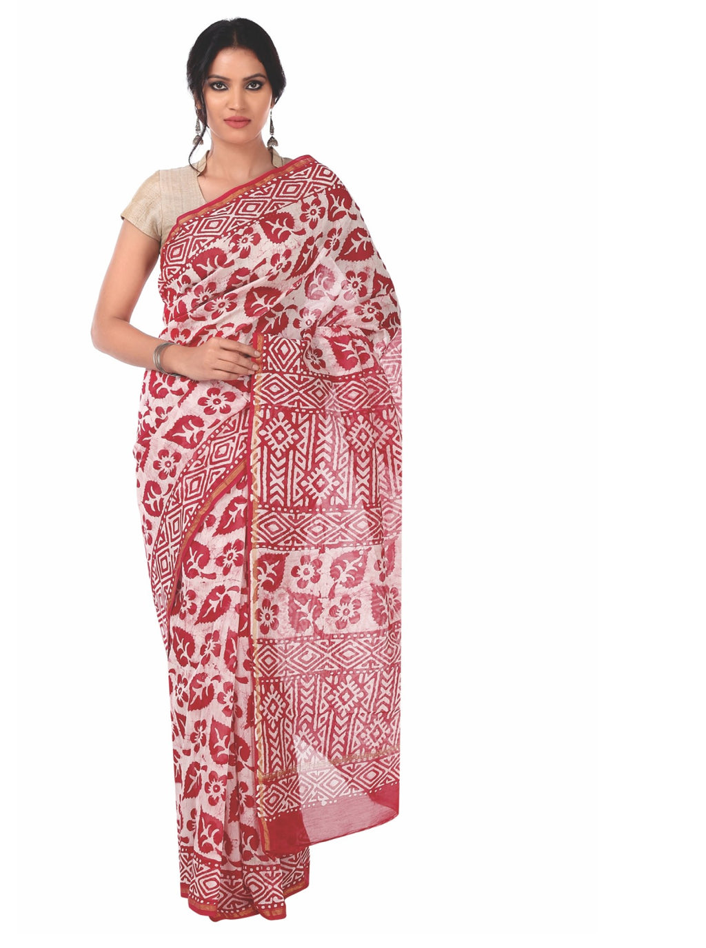Red Chanderi Silk Batik Hand Block Print Handcrafted Saree-Saree-Kalakari India-RDSNSA0058-Batik, Chanderi, Geographical Indication, Hand Blocks, Hand Crafted, Heritage Prints, Sarees, Silk, Sustainable Fabrics-[Linen,Ethnic,wear,Fashionista,Handloom,Handicraft,Indigo,blockprint,block,print,Cotton,Chanderi,Blue, latest,classy,party,bollywood,trendy,summer,style,traditional,formal,elegant,unique,style,hand,block,print, dabu,booti,gift,present,glamorous,affordable,collectible,Sari,Saree,printed, h