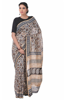 Beige & Maroon Chanderi Silk Kalamkari Hand Block Print Handcrafted Saree-Saree-Kalakari India-RDSNSA0062-Chanderi, Geographical Indication, Hand Blocks, Hand Crafted, Heritage Prints, Kalamkari Block, sarees, Silk, Sustainable Fabrics-[Linen,Ethnic,wear,Fashionista,Handloom,Handicraft,Indigo,blockprint,block,print,Cotton,Chanderi,Blue, latest,classy,party,bollywood,trendy,summer,style,traditional,formal,elegant,unique,style,hand,block,print, dabu,booti,gift,present,glamorous,affordable,collecti