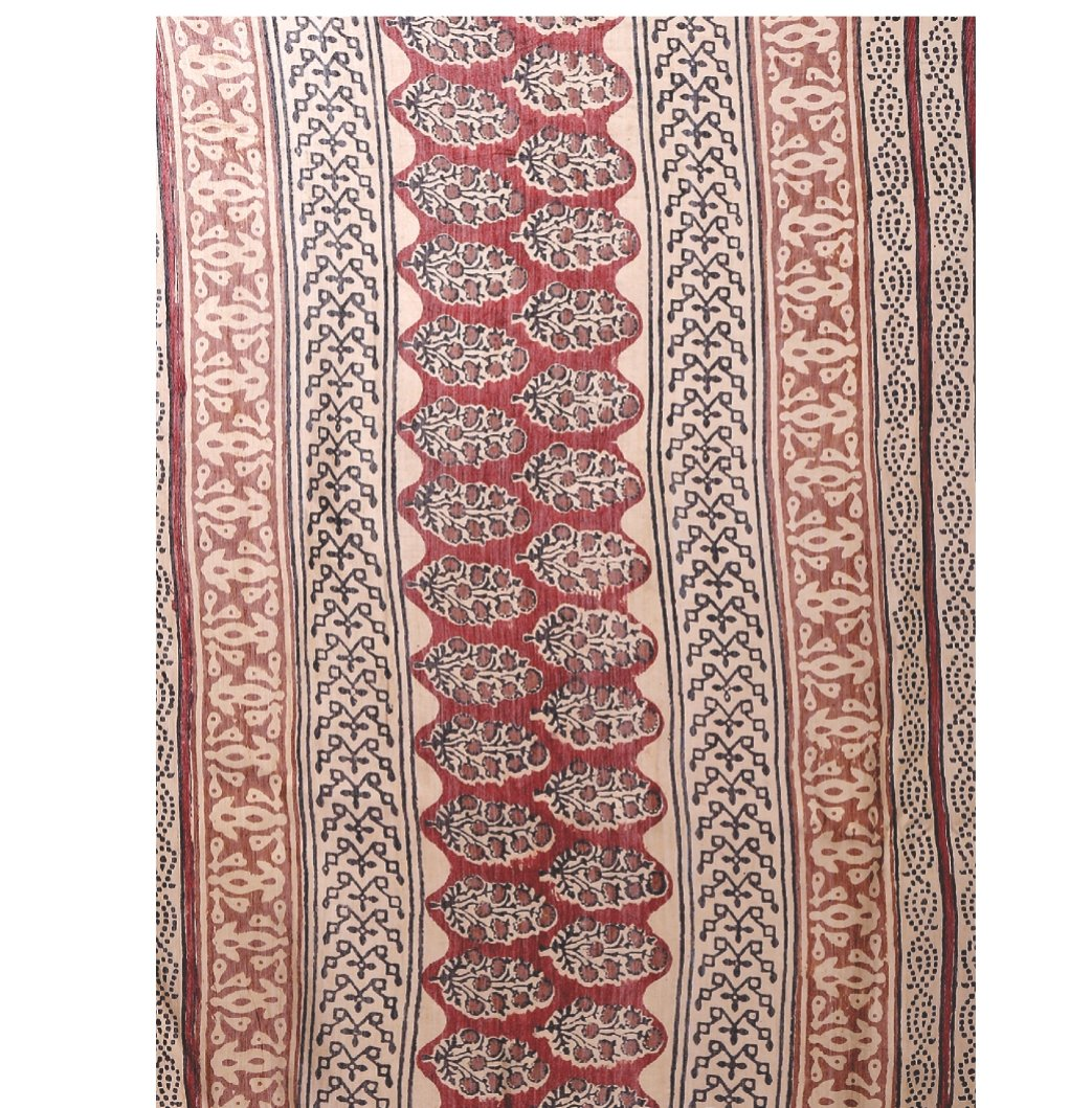 Beige & Maroon Chanderi Silk Kalamkari Hand Block Print Handcrafted Saree-Saree-Kalakari India-RDSNSA0064-Chanderi, Geographical Indication, Hand Blocks, Hand Crafted, Heritage Prints, Kalamkari Block, sarees, Silk, Sustainable Fabrics-[Linen,Ethnic,wear,Fashionista,Handloom,Handicraft,Indigo,blockprint,block,print,Cotton,Chanderi,Blue, latest,classy,party,bollywood,trendy,summer,style,traditional,formal,elegant,unique,style,hand,block,print, dabu,booti,gift,present,glamorous,affordable,collecti