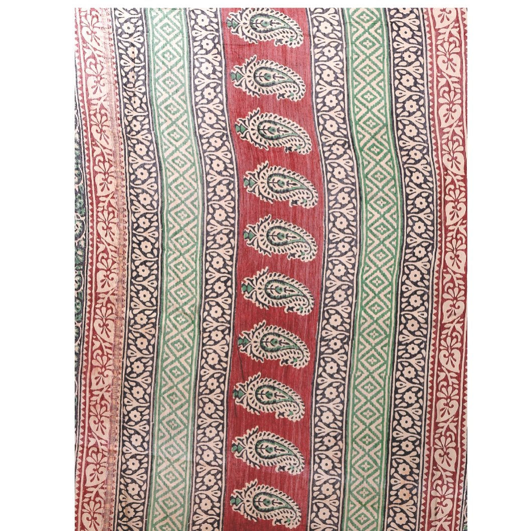 Beige & Maroon Chanderi Silk Kalamkari Hand Block Print Handcrafted Saree-Saree-Kalakari India-RDSNSA0065-Chanderi, Geographical Indication, Hand Blocks, Hand Crafted, Heritage Prints, Kalamkari Block, sarees, Silk, Sustainable Fabrics-[Linen,Ethnic,wear,Fashionista,Handloom,Handicraft,Indigo,blockprint,block,print,Cotton,Chanderi,Blue, latest,classy,party,bollywood,trendy,summer,style,traditional,formal,elegant,unique,style,hand,block,print, dabu,booti,gift,present,glamorous,affordable,collecti