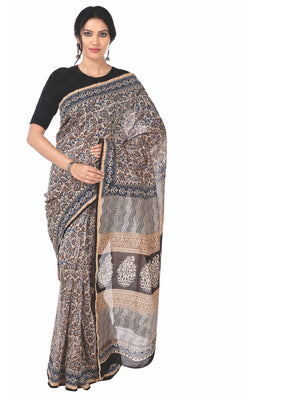 Beige Chanderi Silk Kalamkari Hand Block Print Handcrafted Saree-Saree-Kalakari India-RDSNSA0066-Chanderi, Geographical Indication, Hand Blocks, Hand Crafted, Heritage Prints, Kalamkari Block, sarees, Silk, Sustainable Fabrics-[Linen,Ethnic,wear,Fashionista,Handloom,Handicraft,Indigo,blockprint,block,print,Cotton,Chanderi,Blue, latest,classy,party,bollywood,trendy,summer,style,traditional,formal,elegant,unique,style,hand,block,print, dabu,booti,gift,present,glamorous,affordable,collectible,Sari,