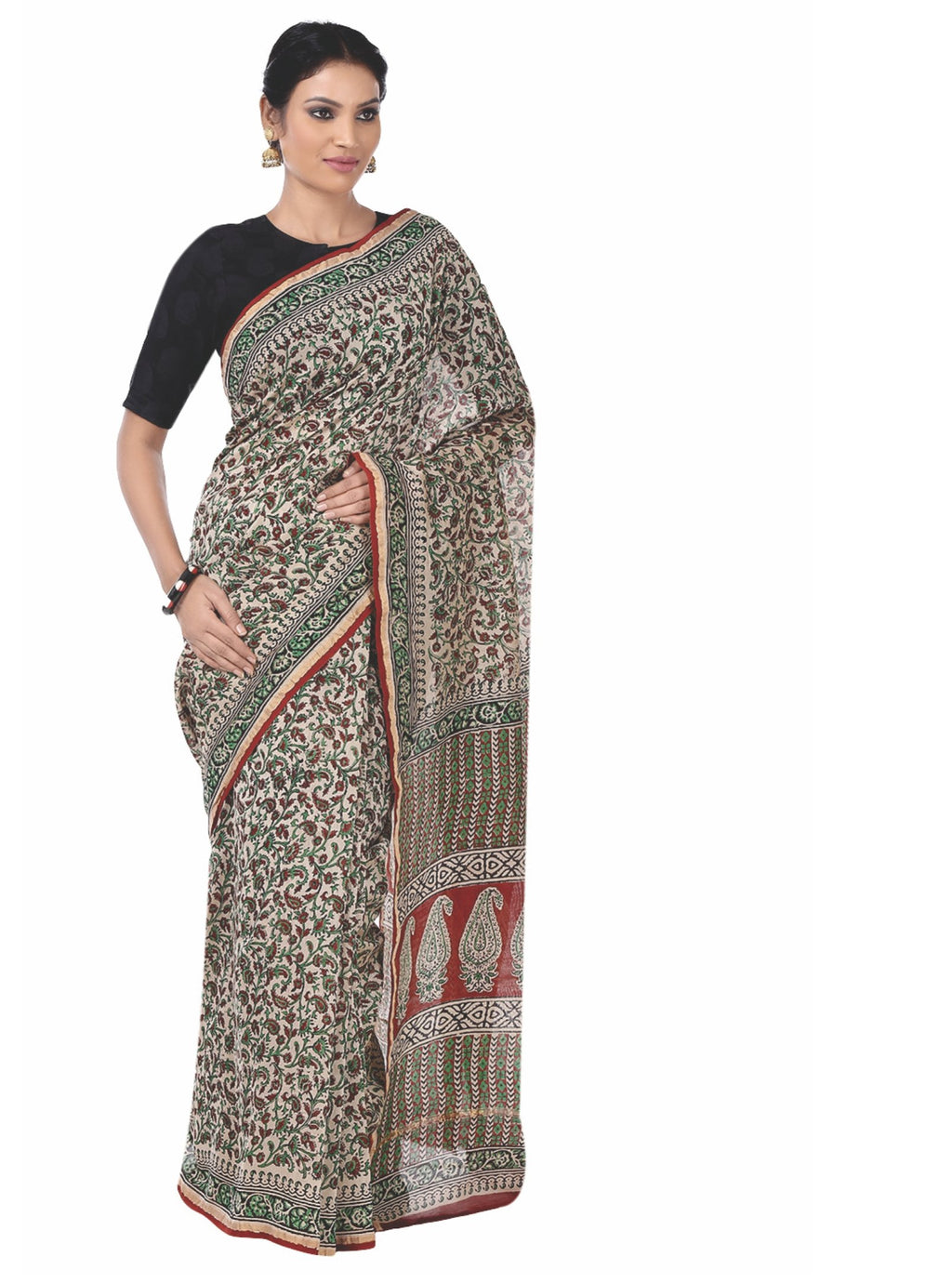 Beige & Maroon Chanderi Silk Kalamkari Hand Block Print Handcrafted Saree-Saree-Kalakari India-RDSNSA0067-Chanderi, Geographical Indication, Hand Blocks, Hand Crafted, Heritage Prints, Kalamkari Block, sarees, Silk, Sustainable Fabrics-[Linen,Ethnic,wear,Fashionista,Handloom,Handicraft,Indigo,blockprint,block,print,Cotton,Chanderi,Blue, latest,classy,party,bollywood,trendy,summer,style,traditional,formal,elegant,unique,style,hand,block,print, dabu,booti,gift,present,glamorous,affordable,collecti