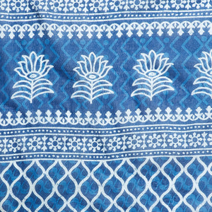Blue Indigo Screen Print Handcrafted Cotton Saree-Saree-Kalakari India-RDSNSA0108-Cotton, Geographical Indication, Hand Blocks, Hand Crafted, Heritage Prints, Indigo, Sarees, Screen Print, Sustainable Fabrics-[Linen,Ethnic,wear,Fashionista,Handloom,Handicraft,Indigo,blockprint,block,print,Cotton,Chanderi,Blue, latest,classy,party,bollywood,trendy,summer,style,traditional,formal,elegant,unique,style,hand,block,print, dabu,booti,gift,present,glamorous,affordable,collectible,Sari,Saree,printed, hol