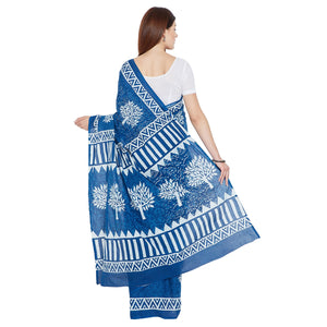 Blue Indigo Screen Print Handcrafted Cotton Saree-Saree-Kalakari India-RDSNSA0109-Cotton, Geographical Indication, Hand Blocks, Hand Crafted, Heritage Prints, Indigo, Sarees, Screen Print, Sustainable Fabrics-[Linen,Ethnic,wear,Fashionista,Handloom,Handicraft,Indigo,blockprint,block,print,Cotton,Chanderi,Blue, latest,classy,party,bollywood,trendy,summer,style,traditional,formal,elegant,unique,style,hand,block,print, dabu,booti,gift,present,glamorous,affordable,collectible,Sari,Saree,printed, hol