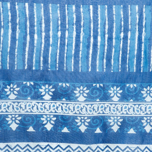 Blue Indigo Screen Print Handcrafted Cotton Saree-Saree-Kalakari India-RDSNSA0111-Cotton, Geographical Indication, Hand Blocks, Hand Crafted, Heritage Prints, Indigo, Sarees, Screen Print, Sustainable Fabrics-[Linen,Ethnic,wear,Fashionista,Handloom,Handicraft,Indigo,blockprint,block,print,Cotton,Chanderi,Blue, latest,classy,party,bollywood,trendy,summer,style,traditional,formal,elegant,unique,style,hand,block,print, dabu,booti,gift,present,glamorous,affordable,collectible,Sari,Saree,printed, hol