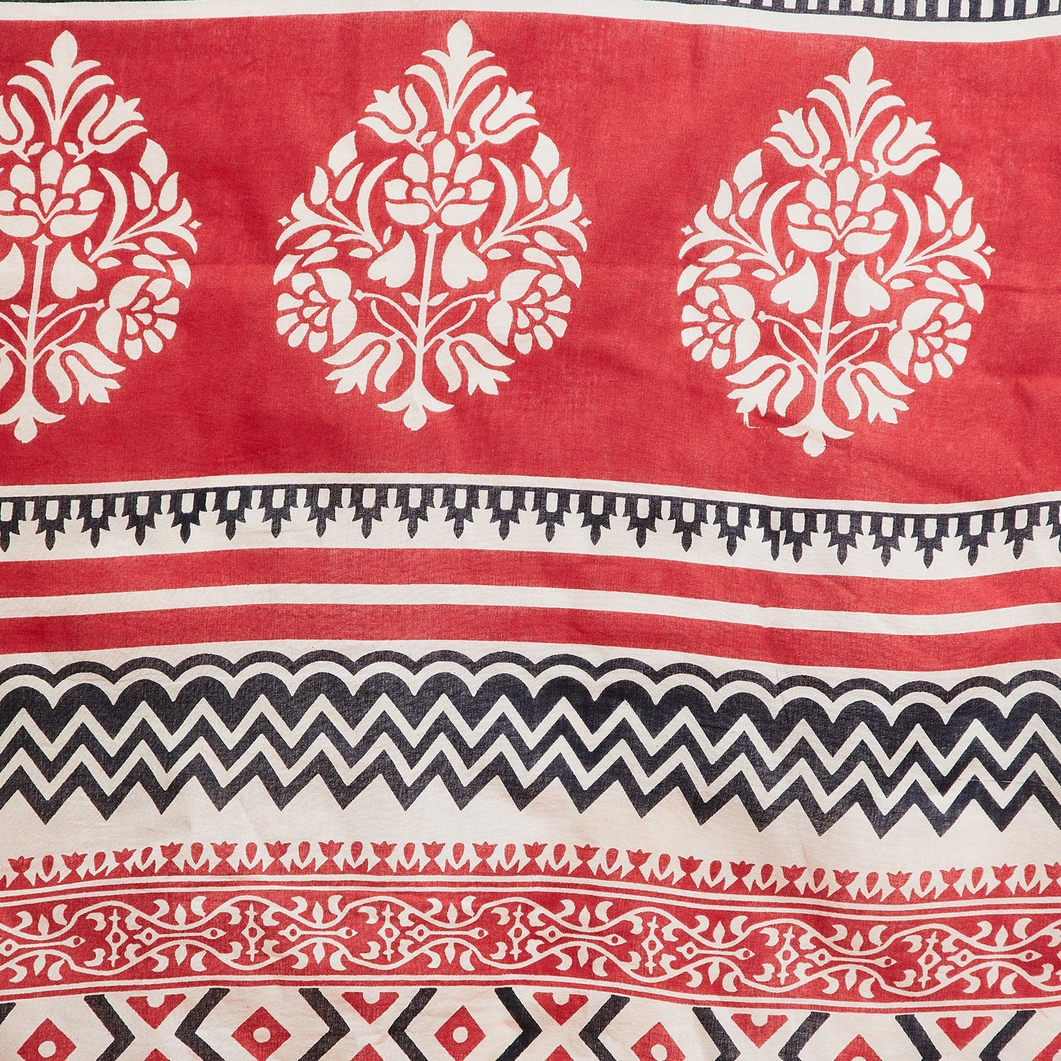 Red & White Sanganeri Hand Block Print Handcrafted Cotton Saree-Saree-Kalakari India-RDSNSA0115-Cotton, Geographical Indication, Hand Blocks, Hand Crafted, Heritage Prints, Sanganeri, Sustainable Fabrics-[Linen,Ethnic,wear,Fashionista,Handloom,Handicraft,Indigo,blockprint,block,print,Cotton,Chanderi,Blue, latest,classy,party,bollywood,trendy,summer,style,traditional,formal,elegant,unique,style,hand,block,print, dabu,booti,gift,present,glamorous,affordable,collectible,Sari,Saree,printed, holi, Di
