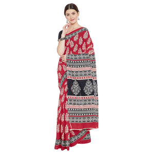 Red & White Cotton Print Bagh Saree-Saree-Kalakari India-RDSNSA0117-Cotton, Geographical Indication, Hand Blocks, Hand Crafted, Heritage Prints, Sanganeri, Sustainable Fabrics-[Linen,Ethnic,wear,Fashionista,Handloom,Handicraft,Indigo,blockprint,block,print,Cotton,Chanderi,Blue, latest,classy,party,bollywood,trendy,summer,style,traditional,formal,elegant,unique,style,hand,block,print, dabu,booti,gift,present,glamorous,affordable,collectible,Sari,Saree,printed, holi, Diwali, birthday, anniversary,