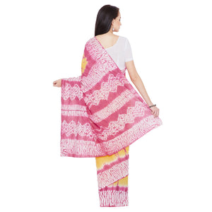 Yellow & Pink Shibori Dyed Handcrafted Cotton Saree-Saree-Kalakari India-RDSNSA0120-Cotton, Geographical Indication, Hand Blocks, Hand Crafted, Heritage Prints, Sarees, Shibori, Sustainable Fabrics-[Linen,Ethnic,wear,Fashionista,Handloom,Handicraft,Indigo,blockprint,block,print,Cotton,Chanderi,Blue, latest,classy,party,bollywood,trendy,summer,style,traditional,formal,elegant,unique,style,hand,block,print, dabu,booti,gift,present,glamorous,affordable,collectible,Sari,Saree,printed, holi, Diwali,