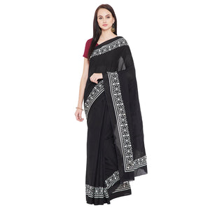 Black & White Hand Block Print Handcrafted Cotton Saree-Saree-Kalakari India-RDSNSA0122-Cotton, Geographical Indication, Hand Blocks, Hand Crafted, Heritage Prints, Sarees, Sustainable Fabrics-[Linen,Ethnic,wear,Fashionista,Handloom,Handicraft,Indigo,blockprint,block,print,Cotton,Chanderi,Blue, latest,classy,party,bollywood,trendy,summer,style,traditional,formal,elegant,unique,style,hand,block,print, dabu,booti,gift,present,glamorous,affordable,collectible,Sari,Saree,printed, holi, Diwali, birth