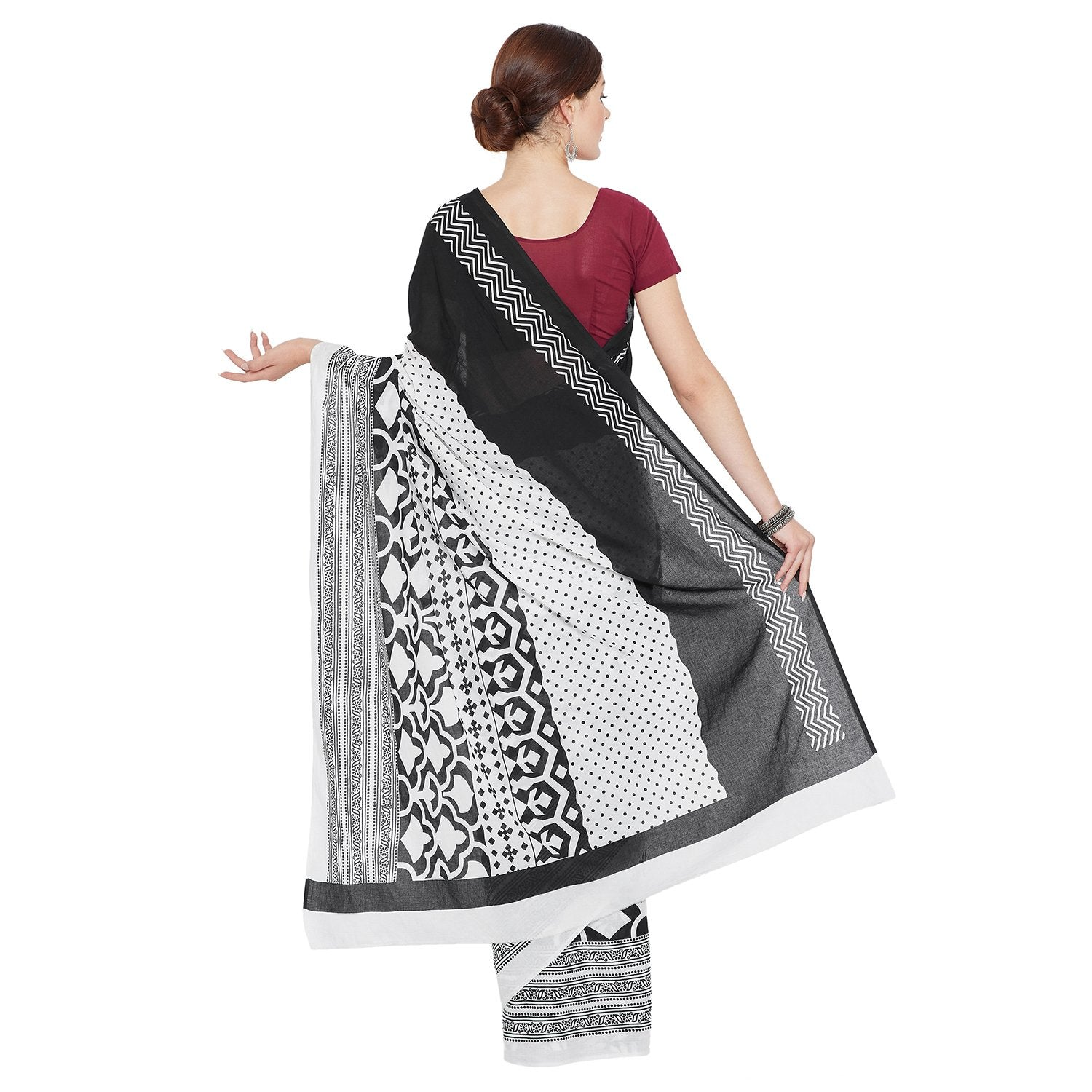 Black & White Hand Block Print Handcrafted Cotton Saree-Saree-Kalakari India-RDSNSA0123-Cotton, Geographical Indication, Hand Blocks, Hand Crafted, Heritage Prints, Sarees, Sustainable Fabrics-[Linen,Ethnic,wear,Fashionista,Handloom,Handicraft,Indigo,blockprint,block,print,Cotton,Chanderi,Blue, latest,classy,party,bollywood,trendy,summer,style,traditional,formal,elegant,unique,style,hand,block,print, dabu,booti,gift,present,glamorous,affordable,collectible,Sari,Saree,printed, holi, Diwali, birth