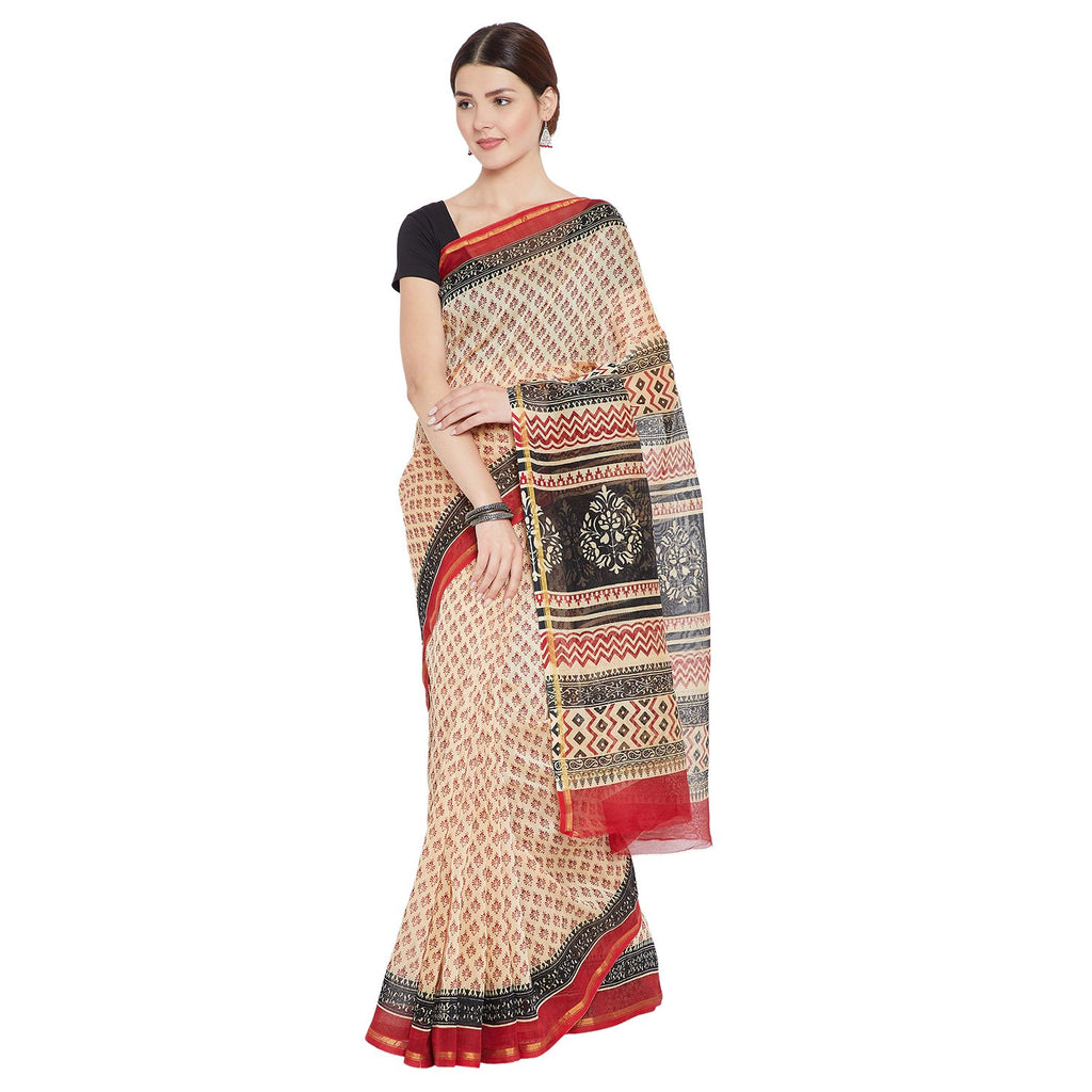 Beige & Red Chanderi Silk Sanganeri Hand Block Print Handcrafted Saree-Saree-Kalakari India-RDSNSA0126-Bagh, Chanderi, Geographical Indication, Hand Blocks, Hand Crafted, Heritage Prints, Sarees, Sustainable Fabrics-[Linen,Ethnic,wear,Fashionista,Handloom,Handicraft,Indigo,blockprint,block,print,Cotton,Chanderi,Blue, latest,classy,party,bollywood,trendy,summer,style,traditional,formal,elegant,unique,style,hand,block,print, dabu,booti,gift,present,glamorous,affordable,collectible,Sari,Saree,print