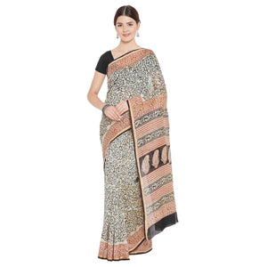 Beige & Red Chanderi Silk Hand Block Print Handcrafted Saree-Saree-Kalakari India-RDSNSA0127-Bagh, Chanderi, Geographical Indication, Hand Blocks, Hand Crafted, Heritage Prints, Sarees, Sustainable Fabrics-[Linen,Ethnic,wear,Fashionista,Handloom,Handicraft,Indigo,blockprint,block,print,Cotton,Chanderi,Blue, latest,classy,party,bollywood,trendy,summer,style,traditional,formal,elegant,unique,style,hand,block,print, dabu,booti,gift,present,glamorous,affordable,collectible,Sari,Saree,printed, holi,