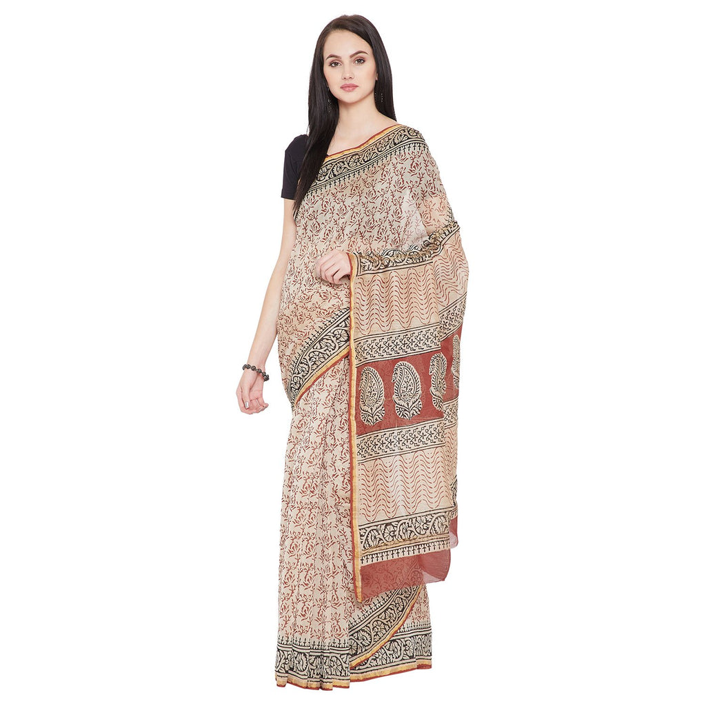 Beige & Red Chanderi Silk Hand Block Print Handcrafted Saree-Saree-Kalakari India-RDSNSA0128-Bagh, Chanderi, Geographical Indication, Hand Blocks, Hand Crafted, Heritage Prints, Sarees, Sustainable Fabrics-[Linen,Ethnic,wear,Fashionista,Handloom,Handicraft,Indigo,blockprint,block,print,Cotton,Chanderi,Blue, latest,classy,party,bollywood,trendy,summer,style,traditional,formal,elegant,unique,style,hand,block,print, dabu,booti,gift,present,glamorous,affordable,collectible,Sari,Saree,printed, holi,
