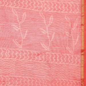 Peach-Coloured & Pink Chanderi Silk Hand Block Print Handcrafted Saree-Saree-Kalakari India-RDSNSA0131-Bagh, Chanderi, Geographical Indication, Hand Blocks, Hand Crafted, Heritage Prints, Sarees, Sustainable Fabrics-[Linen,Ethnic,wear,Fashionista,Handloom,Handicraft,Indigo,blockprint,block,print,Cotton,Chanderi,Blue, latest,classy,party,bollywood,trendy,summer,style,traditional,formal,elegant,unique,style,hand,block,print, dabu,booti,gift,present,glamorous,affordable,collectible,Sari,Saree,print