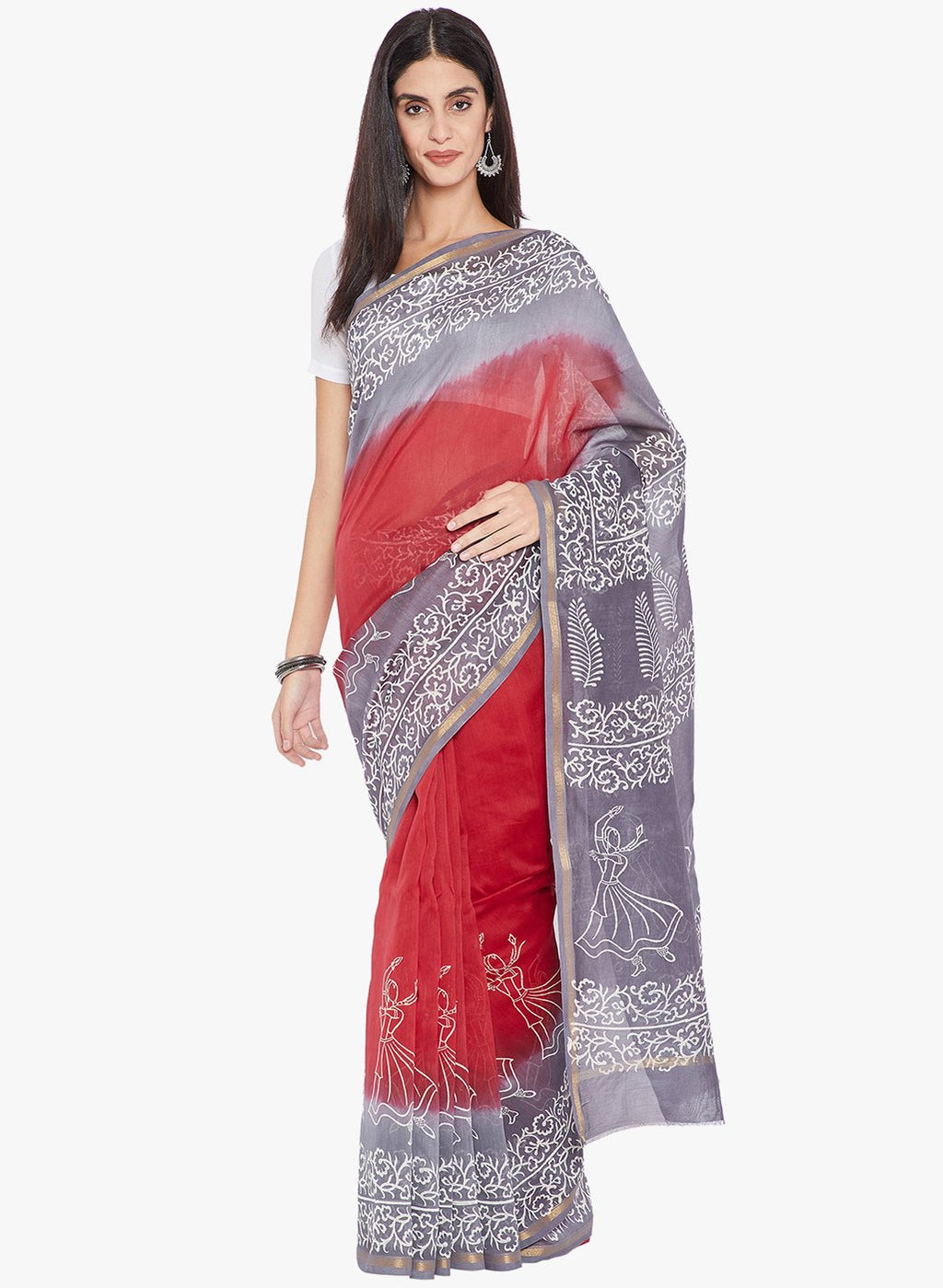 Blue & White Chanderi Silk Hand Block Print Handcrafted Saree-Saree-Kalakari India-RDSNSA0132-Chanderi, Geographical Indication, Hand Blocks, Hand Crafted, Heritage Prints, Sarees, Silk, Sustainable Fabrics-[Linen,Ethnic,wear,Fashionista,Handloom,Handicraft,Indigo,blockprint,block,print,Cotton,Chanderi,Blue, latest,classy,party,bollywood,trendy,summer,style,traditional,formal,elegant,unique,style,hand,block,print, dabu,booti,gift,present,glamorous,affordable,collectible,Sari,Saree,printed, holi,