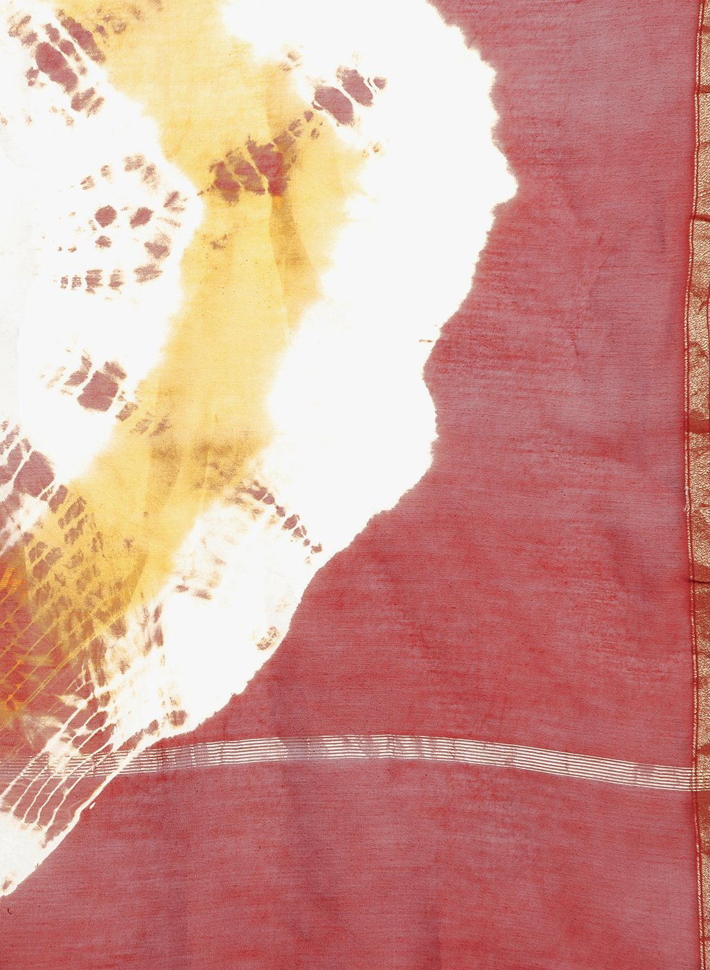 Red & Orange Chanderi Silk Shibori Hand Dyed Handcrafted Saree-Saree-Kalakari India-RDSNSA0133-Chanderi, Geographical Indication, Hand Blocks, Hand Crafted, Heritage Prints, Sarees, Shibori, Silk, Sustainable Fabrics-[Linen,Ethnic,wear,Fashionista,Handloom,Handicraft,Indigo,blockprint,block,print,Cotton,Chanderi,Blue, latest,classy,party,bollywood,trendy,summer,style,traditional,formal,elegant,unique,style,hand,block,print, dabu,booti,gift,present,glamorous,affordable,collectible,Sari,Saree,prin