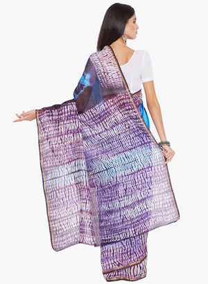 Blue & Purple Silk Chanderi Silk Shibori Hand Dyed Handcrafted Saree-Saree-Kalakari India-RDSNSA0134-Chanderi, Geographical Indication, Hand Blocks, Hand Crafted, Heritage Prints, Sarees, Shibori, Silk, Sustainable Fabrics-[Linen,Ethnic,wear,Fashionista,Handloom,Handicraft,Indigo,blockprint,block,print,Cotton,Chanderi,Blue, latest,classy,party,bollywood,trendy,summer,style,traditional,formal,elegant,unique,style,hand,block,print, dabu,booti,gift,present,glamorous,affordable,collectible,Sari,Sare