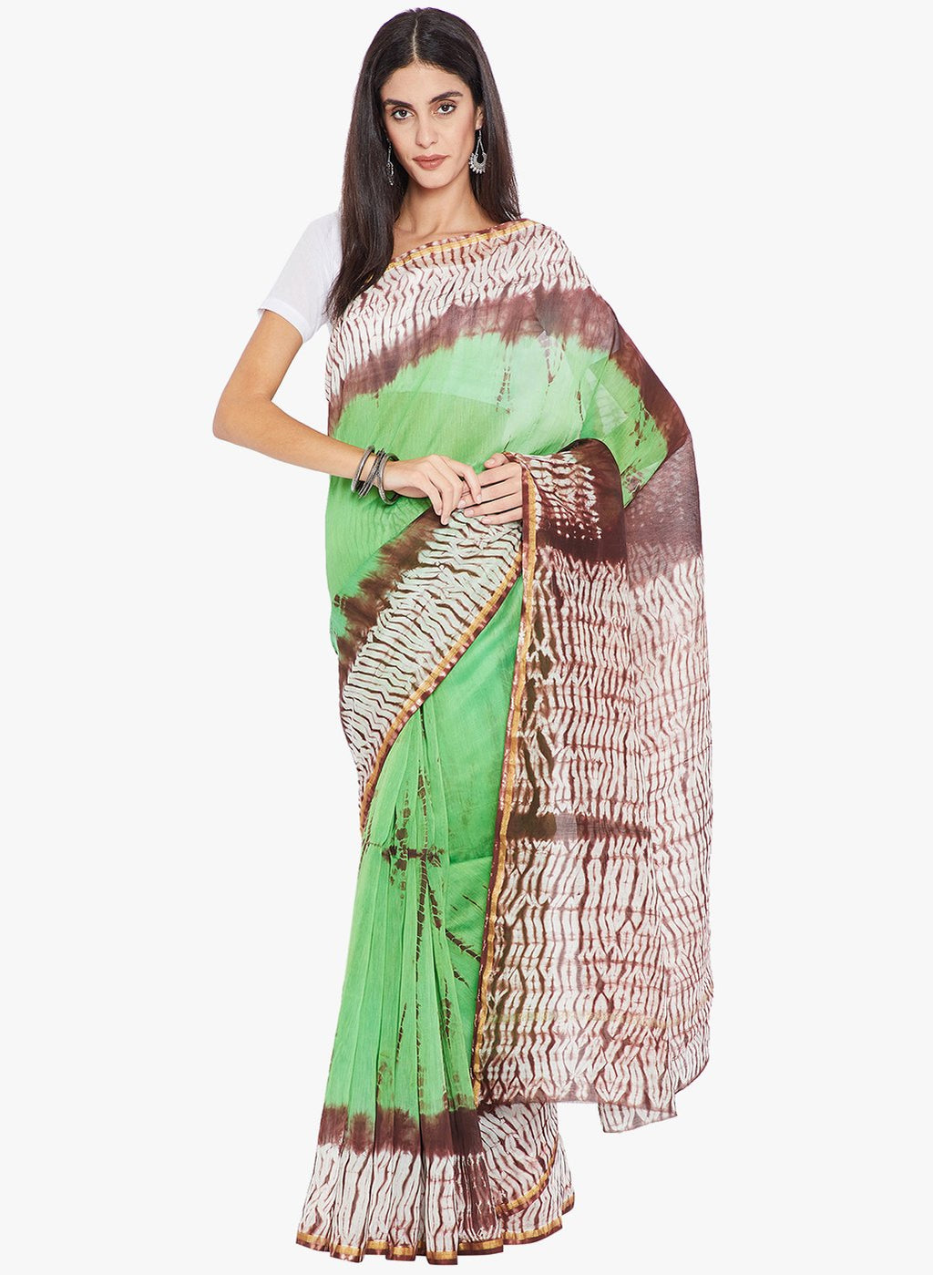 Green & Burgundy Chanderi Silk Shibori Hand Dyed Handcrafted Saree-Saree-Kalakari India-RDSNSA0135-Chanderi, Geographical Indication, Hand Blocks, Hand Crafted, Heritage Prints, Sarees, Shibori, Silk, Sustainable Fabrics-[Linen,Ethnic,wear,Fashionista,Handloom,Handicraft,Indigo,blockprint,block,print,Cotton,Chanderi,Blue, latest,classy,party,bollywood,trendy,summer,style,traditional,formal,elegant,unique,style,hand,block,print, dabu,booti,gift,present,glamorous,affordable,collectible,Sari,Saree,