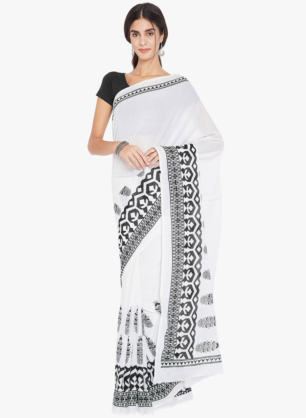 Black & White Hand Block Print Handcrafted Cotton Saree-Saree-Kalakari India-RDSNSA0136-Chanderi, Geographical Indication, Hand Blocks, Hand Crafted, Heritage Prints, Sarees, Silk, Sustainable Fabrics-[Linen,Ethnic,wear,Fashionista,Handloom,Handicraft,Indigo,blockprint,block,print,Cotton,Chanderi,Blue, latest,classy,party,bollywood,trendy,summer,style,traditional,formal,elegant,unique,style,hand,block,print, dabu,booti,gift,present,glamorous,affordable,collectible,Sari,Saree,printed, holi, Diwal