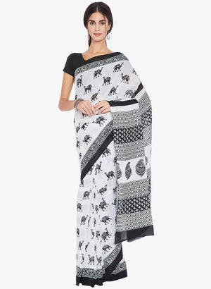Black & White Hand Block Print Handcrafted Cotton Saree-Saree-Kalakari India-RDSNSA0139-Cotton, Geographical Indication, Hand Blocks, Hand Crafted, Heritage Prints, Sarees, Sustainable Fabrics-[Linen,Ethnic,wear,Fashionista,Handloom,Handicraft,Indigo,blockprint,block,print,Cotton,Chanderi,Blue, latest,classy,party,bollywood,trendy,summer,style,traditional,formal,elegant,unique,style,hand,block,print, dabu,booti,gift,present,glamorous,affordable,collectible,Sari,Saree,printed, holi, Diwali, birth