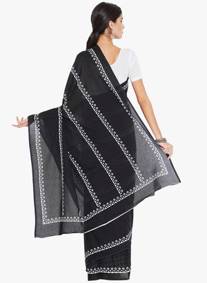 Black & White Hand Block Print Handcrafted Cotton Saree-Saree-Kalakari India-RDSNSA0143-Cotton, Geographical Indication, Hand Blocks, Hand Crafted, Heritage Prints, Sarees, Sustainable Fabrics-[Linen,Ethnic,wear,Fashionista,Handloom,Handicraft,Indigo,blockprint,block,print,Cotton,Chanderi,Blue, latest,classy,party,bollywood,trendy,summer,style,traditional,formal,elegant,unique,style,hand,block,print, dabu,booti,gift,present,glamorous,affordable,collectible,Sari,Saree,printed, holi, Diwali, birth