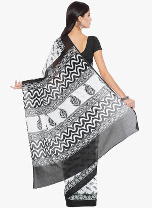Black & White Screen Print Handcrafted Cotton Saree-Saree-Kalakari India-RDSNSA0145-Cotton, Geographical Indication, Hand Blocks, Hand Crafted, Heritage Prints, Sarees, Sustainable Fabrics-[Linen,Ethnic,wear,Fashionista,Handloom,Handicraft,Indigo,blockprint,block,print,Cotton,Chanderi,Blue, latest,classy,party,bollywood,trendy,summer,style,traditional,formal,elegant,unique,style,hand,block,print, dabu,booti,gift,present,glamorous,affordable,collectible,Sari,Saree,printed, holi, Diwali, birthday,