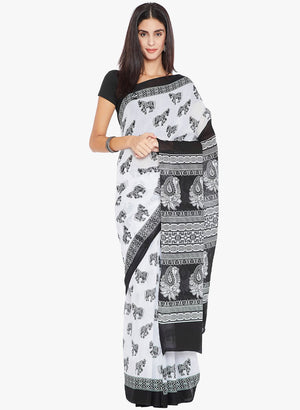 Black & White Screen Print Handcrafted Cotton Saree-Saree-Kalakari India-RDSNSA0146-Cotton, Geographical Indication, Hand Blocks, Hand Crafted, Heritage Prints, Sarees, Sustainable Fabrics-[Linen,Ethnic,wear,Fashionista,Handloom,Handicraft,Indigo,blockprint,block,print,Cotton,Chanderi,Blue, latest,classy,party,bollywood,trendy,summer,style,traditional,formal,elegant,unique,style,hand,block,print, dabu,booti,gift,present,glamorous,affordable,collectible,Sari,Saree,printed, holi, Diwali, birthday,