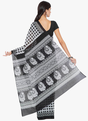 Black & White Screen Print Handcrafted Cotton Saree-Saree-Kalakari India-RDSNSA0147-Cotton, Geographical Indication, Hand Blocks, Hand Crafted, Heritage Prints, Sarees, Sustainable Fabrics-[Linen,Ethnic,wear,Fashionista,Handloom,Handicraft,Indigo,blockprint,block,print,Cotton,Chanderi,Blue, latest,classy,party,bollywood,trendy,summer,style,traditional,formal,elegant,unique,style,hand,block,print, dabu,booti,gift,present,glamorous,affordable,collectible,Sari,Saree,printed, holi, Diwali, birthday,