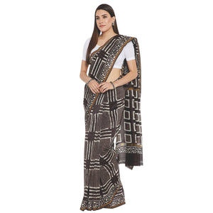 Grey & White Chanderi Silk Hand Block Print Handcrafted Saree-Saree-Kalakari India-RDSWSA0069-Chanderi, Geographical Indication, Hand Blocks, Hand Crafted, Heritage Prints, Sarees, Silk, Sustainable Fabrics-[Linen,Ethnic,wear,Fashionista,Handloom,Handicraft,Indigo,blockprint,block,print,Cotton,Chanderi,Blue, latest,classy,party,bollywood,trendy,summer,style,traditional,formal,elegant,unique,style,hand,block,print, dabu,booti,gift,present,glamorous,affordable,collectible,Sari,Saree,printed, holi,