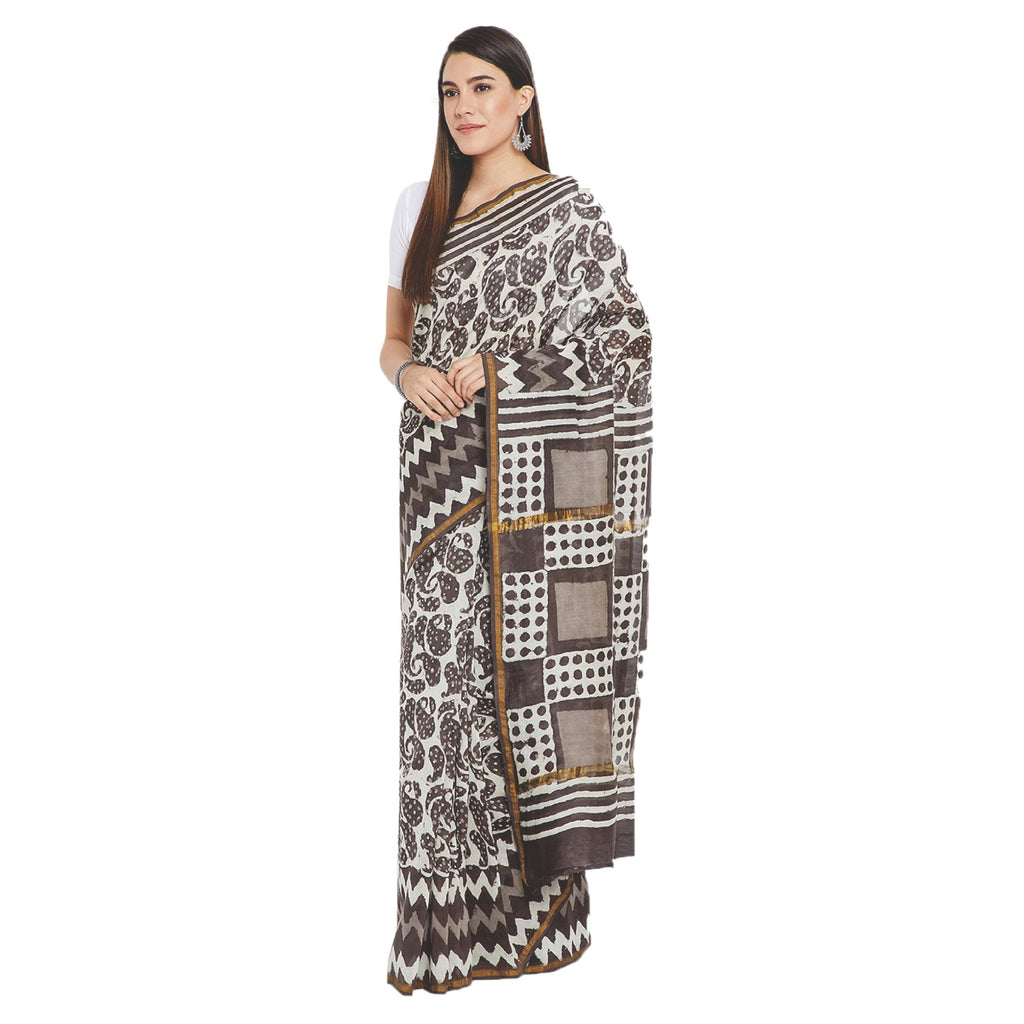 Grey & White Chanderi Silk Hand Block Print Handcrafted Saree-Saree-Kalakari India-RDSWSA0070-Chanderi, Geographical Indication, Hand Blocks, Hand Crafted, Heritage Prints, Sarees, Silk, Sustainable Fabrics-[Linen,Ethnic,wear,Fashionista,Handloom,Handicraft,Indigo,blockprint,block,print,Cotton,Chanderi,Blue, latest,classy,party,bollywood,trendy,summer,style,traditional,formal,elegant,unique,style,hand,block,print, dabu,booti,gift,present,glamorous,affordable,collectible,Sari,Saree,printed, holi,