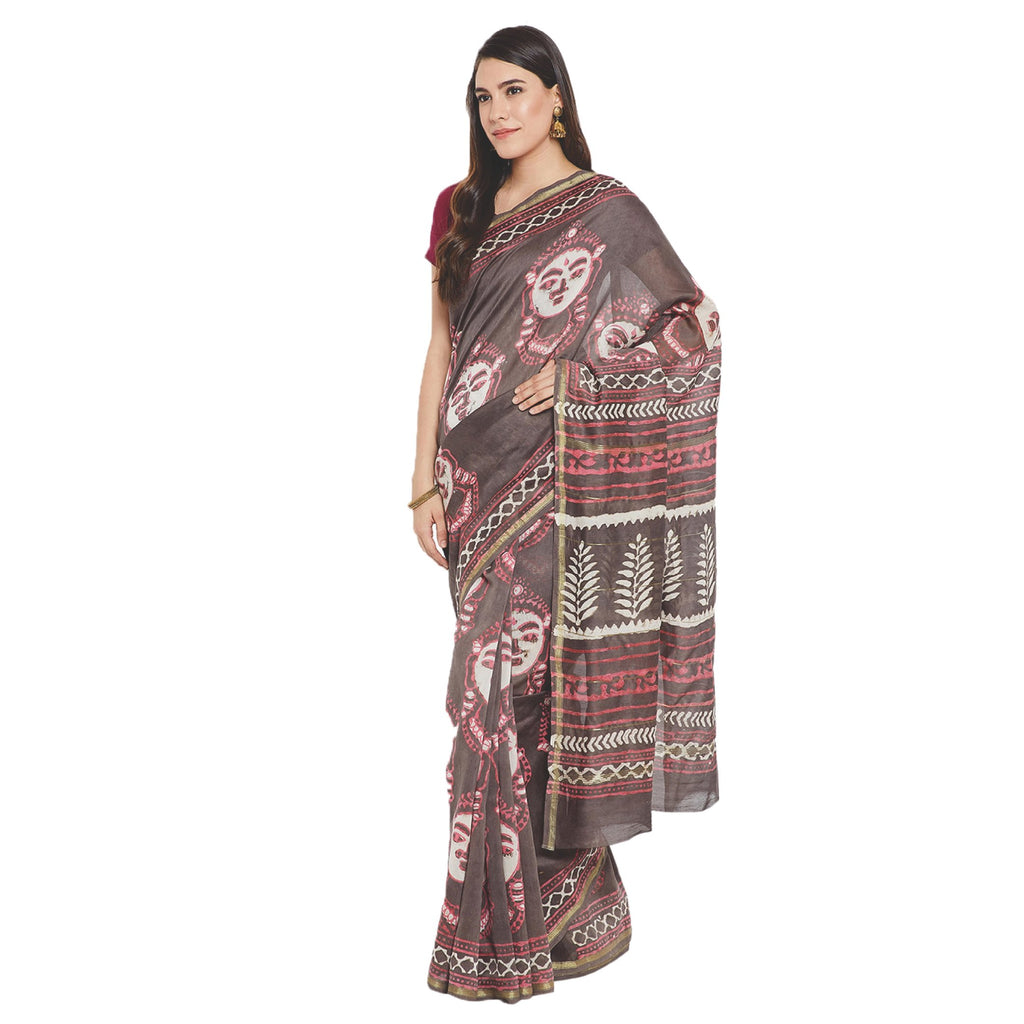 Grey & Brown Chanderi Silk Hand Block Print Handcrafted Saree-Saree-Kalakari India-RDSWSA0072-Chanderi, Geographical Indication, Hand Blocks, Hand Crafted, Heritage Prints, Sarees, Silk, Sustainable Fabrics-[Linen,Ethnic,wear,Fashionista,Handloom,Handicraft,Indigo,blockprint,block,print,Cotton,Chanderi,Blue, latest,classy,party,bollywood,trendy,summer,style,traditional,formal,elegant,unique,style,hand,block,print, dabu,booti,gift,present,glamorous,affordable,collectible,Sari,Saree,printed, holi,