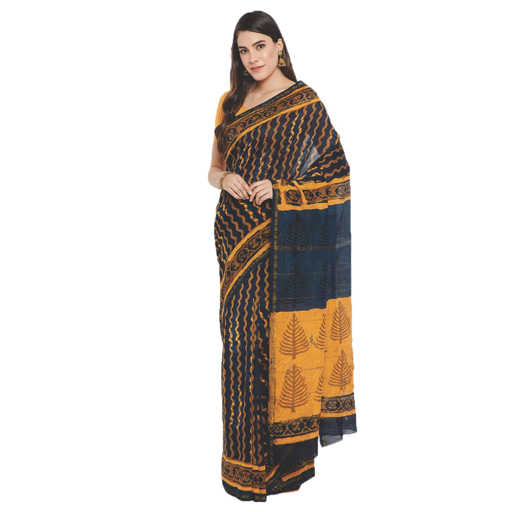 Yellow & Black Chanderi Silk Hand Block Print Handcrafted Saree-Saree-Kalakari India-RDSWSA0073-Chanderi, Geographical Indication, Hand Blocks, Hand Crafted, Heritage Prints, Sarees, Silk, Sustainable Fabrics-[Linen,Ethnic,wear,Fashionista,Handloom,Handicraft,Indigo,blockprint,block,print,Cotton,Chanderi,Blue, latest,classy,party,bollywood,trendy,summer,style,traditional,formal,elegant,unique,style,hand,block,print, dabu,booti,gift,present,glamorous,affordable,collectible,Sari,Saree,printed, hol