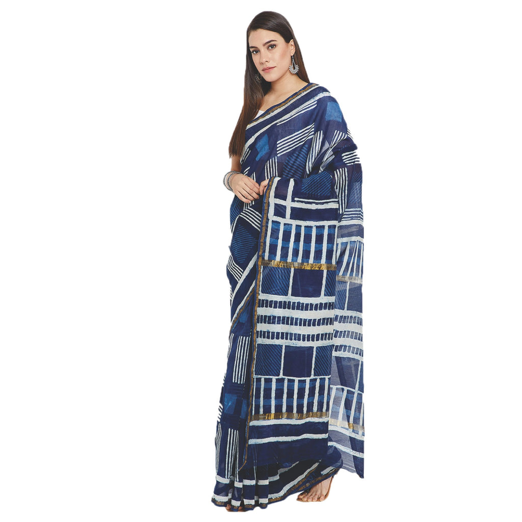 Navy Blue & Off-White Chanderi Silk Hand Block Print Handcrafted Saree-Saree-Kalakari India-RDSWSA0074-Chanderi, Geographical Indication, Hand Blocks, Hand Crafted, Heritage Prints, Sarees, Silk, Sustainable Fabrics-[Linen,Ethnic,wear,Fashionista,Handloom,Handicraft,Indigo,blockprint,block,print,Cotton,Chanderi,Blue, latest,classy,party,bollywood,trendy,summer,style,traditional,formal,elegant,unique,style,hand,block,print, dabu,booti,gift,present,glamorous,affordable,collectible,Sari,Saree,print
