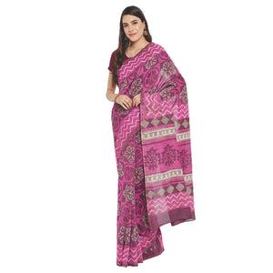 Pink Chanderi Silk Hand Block Print Handcrafted Saree-Saree-Kalakari India-RDSWSA0076-Chanderi, Geographical Indication, Hand Blocks, Hand Crafted, Heritage Prints, Sarees, Silk, Sustainable Fabrics-[Linen,Ethnic,wear,Fashionista,Handloom,Handicraft,Indigo,blockprint,block,print,Cotton,Chanderi,Blue, latest,classy,party,bollywood,trendy,summer,style,traditional,formal,elegant,unique,style,hand,block,print, dabu,booti,gift,present,glamorous,affordable,collectible,Sari,Saree,printed, holi, Diwali,