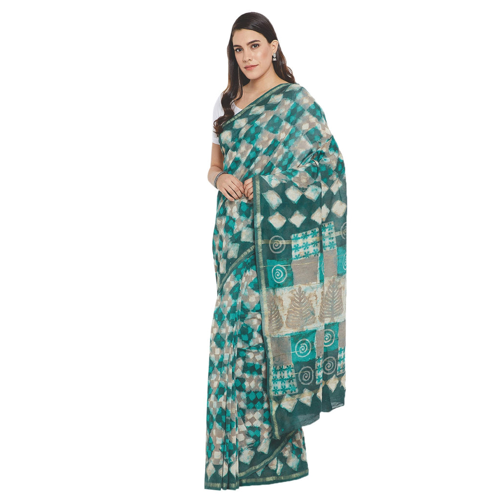 Green & White Chanderi Silk Hand Block Print Handcrafted Saree-Saree-Kalakari India-RDSWSA0078-Chanderi, Geographical Indication, Hand Blocks, Hand Crafted, Heritage Prints, Sarees, Silk, Sustainable Fabrics-[Linen,Ethnic,wear,Fashionista,Handloom,Handicraft,Indigo,blockprint,block,print,Cotton,Chanderi,Blue, latest,classy,party,bollywood,trendy,summer,style,traditional,formal,elegant,unique,style,hand,block,print, dabu,booti,gift,present,glamorous,affordable,collectible,Sari,Saree,printed, holi