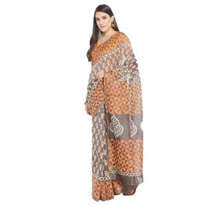 Orange & Grey Chanderi Silk Hand Block Print Handcrafted Saree-Saree-Kalakari India-RDSWSA0079-Chanderi, Geographical Indication, Hand Blocks, Hand Crafted, Heritage Prints, Sarees, Silk, Sustainable Fabrics-[Linen,Ethnic,wear,Fashionista,Handloom,Handicraft,Indigo,blockprint,block,print,Cotton,Chanderi,Blue, latest,classy,party,bollywood,trendy,summer,style,traditional,formal,elegant,unique,style,hand,block,print, dabu,booti,gift,present,glamorous,affordable,collectible,Sari,Saree,printed, holi
